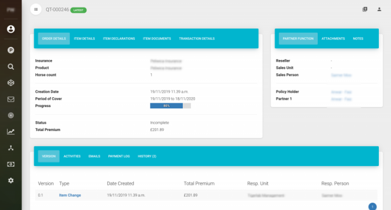 Screenshot of i2go insurance software for quote and binding
