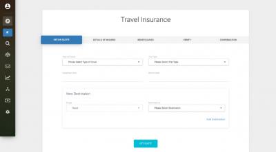 travel insurance software screenshot