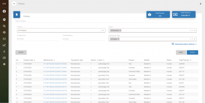 screenshot of policy management system