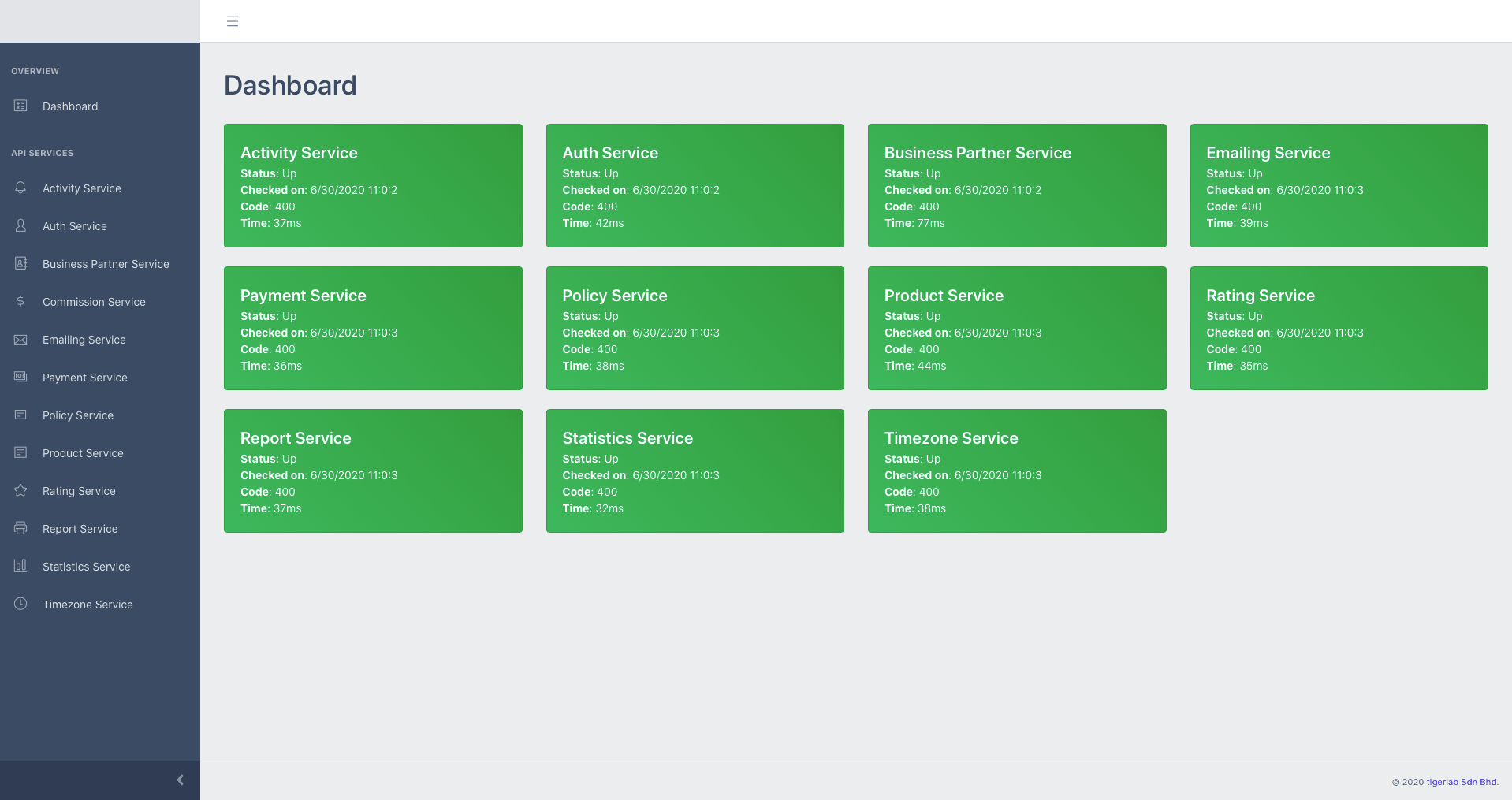 Health Check Screen