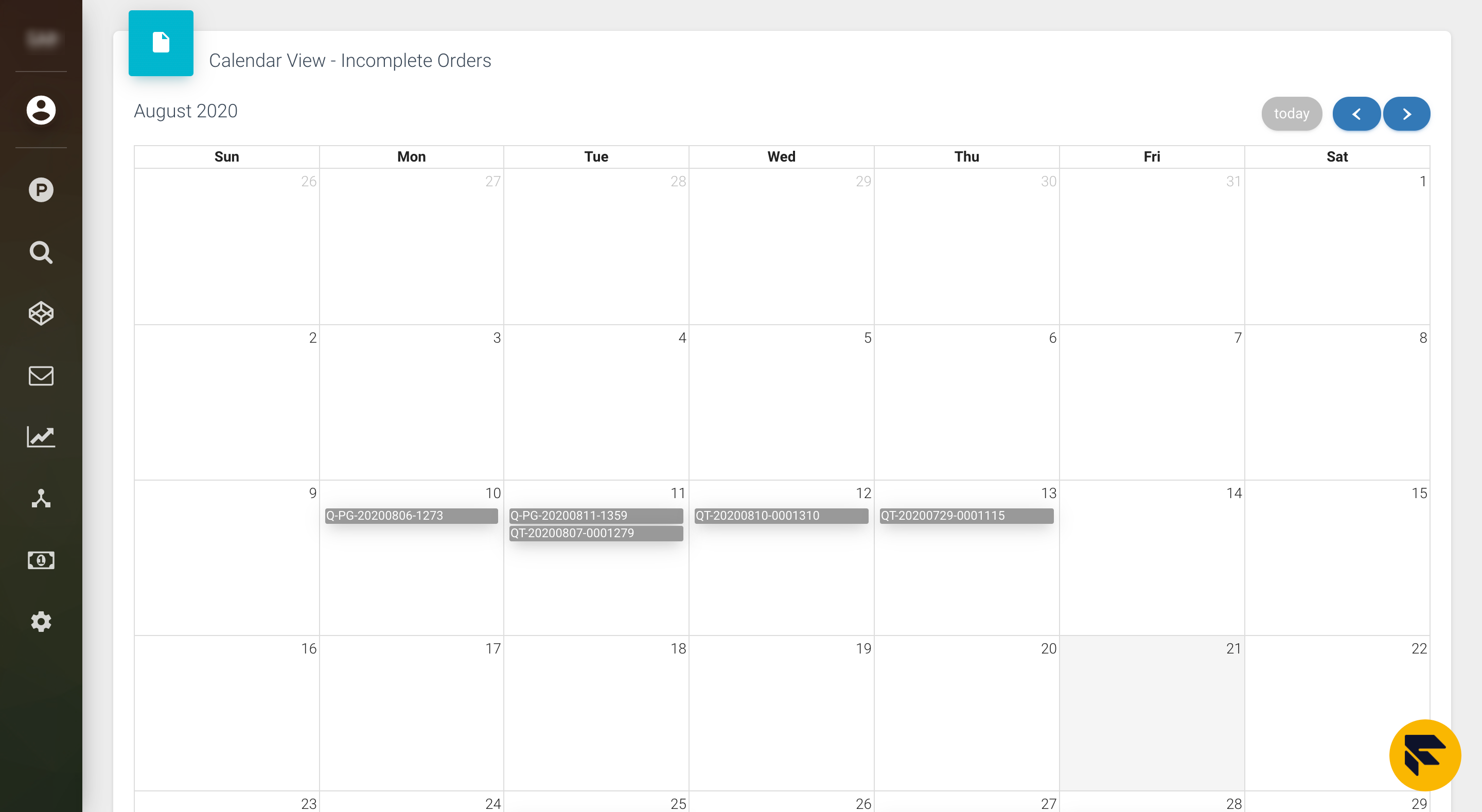 leads calendar view screenshot