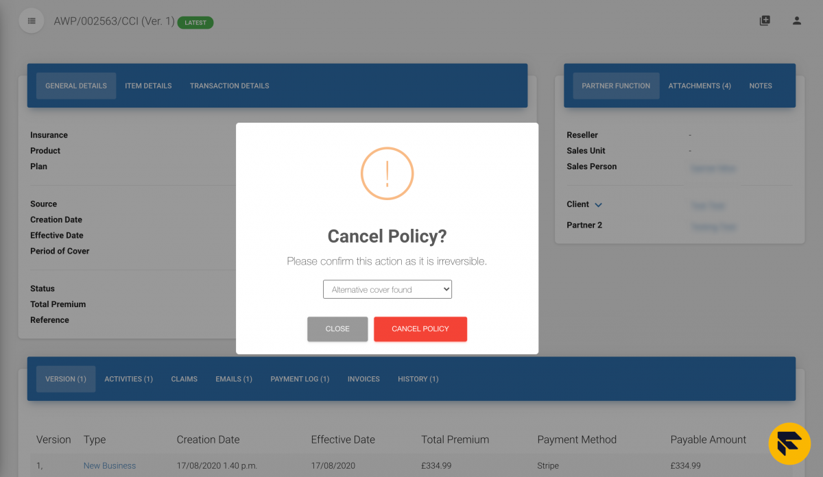 cancel policy screenshot